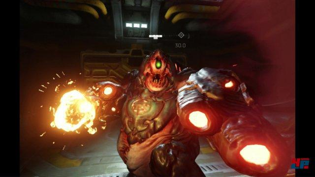Die Kulisse ist des großen Namens würdig: Zwar werden größtenteils nur Assets aus dem letztjährigen Shooter recycelt, dennoch gehört Doom VfR zu den bestaussehenden VR-Titeln dieses Jahres.