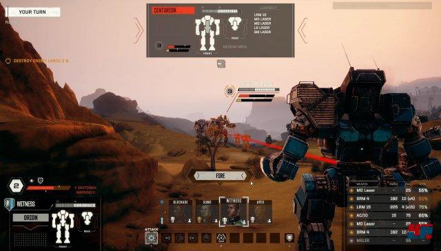 Beim gegnerischen Centurion-Mech können einzelne Sektionen anvisiert und beschossen werden (oben mittig). Welche Waffen man einsetzen möchte, kann man rechts unten festlegen. Werden alle Waffensysteme eingesetzt, droht eine Notabschaltung aufgrund von Überhitzung.