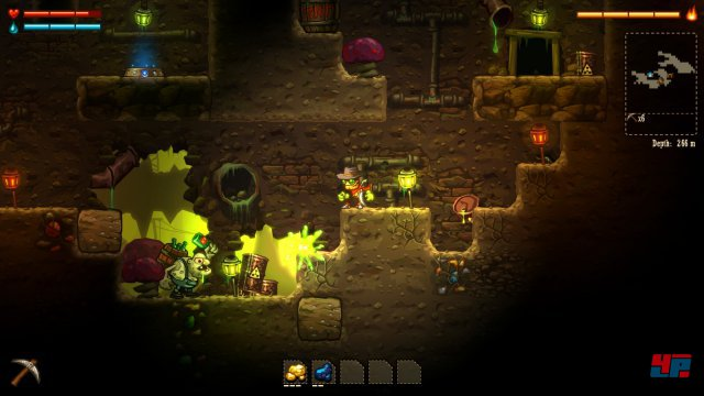 """Im Laufe des Spiels schaltet man nicht nur weitere Ausrüstung und Fähigkeiten frei, sondern trifft auch auf eine unterirdische """"Zivilisation"""" - die gerne mit Dynamit spielt."""