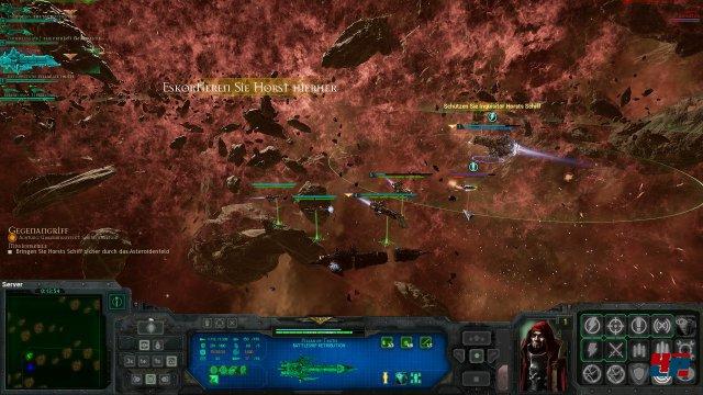 Meine Flotte bestehend aus vier Schiffen muss Inquisitor Horsts Raumschiff durch das Asteroidenfeld eskortieren.