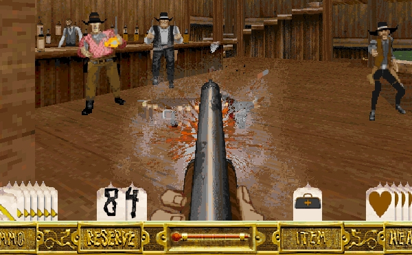 Outlaws (1997)<br><br>LucasArts machte es sich da einfacher und fragte: »Western? Shooter!« Wie praktisch, dass man gerade die 3D-Engine aus Dark Forces parat hatte – also würde es ein Ego-Shooter werden. Endlich steckte man mittendrin, wenn zwischen Hühnern und Kühen die Kugeln flogen. Auch typisch: Mal wieder wurde die Familie von irgendwelchen Halunken entführt. Die alte Leier wird ja nicht schlecht. Ein wenig comichafte Überzeichnung und fertig war ein kultiger Kugelhagel, dem so mancher noch heute im besten Sinne eine Fortsetzung an den Hals wünscht. 2092878
