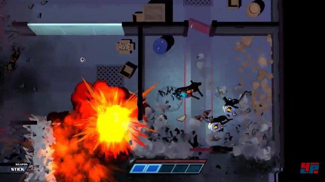 Man kann mit gutem Timing auch dafür sorgen, dass sich die Gegner gegenseitig mit ihren Projektilen ausschalten oder sie in Explosionen locken