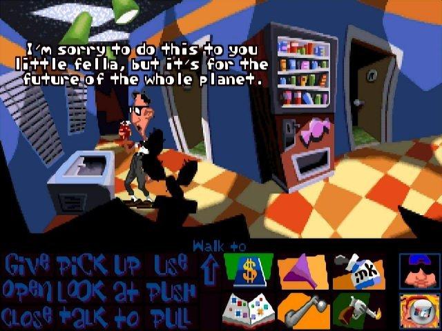 Der ikonische Moment von DotT: Der Hamster landet nicht in der Mikrowelle, sondern in der Tiefkühltruhe - das damit verbundene Puzzle ist repräsentativ für das wundervoll durchgeknallte Design des Spiels.