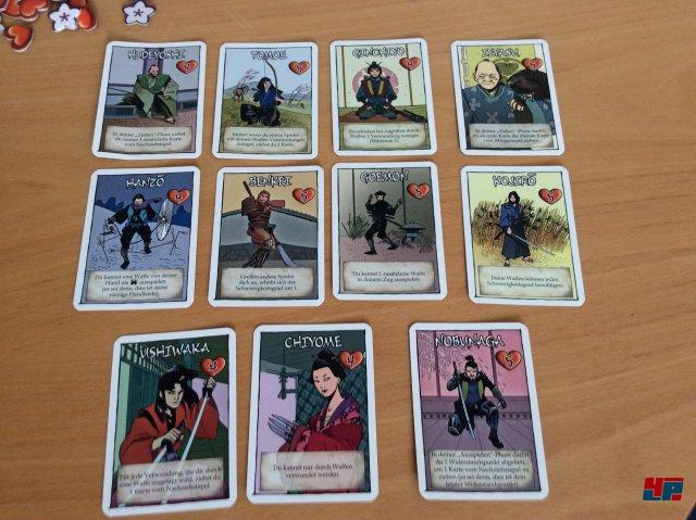 Neben der Rolle (Shogun, Samurai, Ninja, Ronin) gibt es zwölf Charaktere.