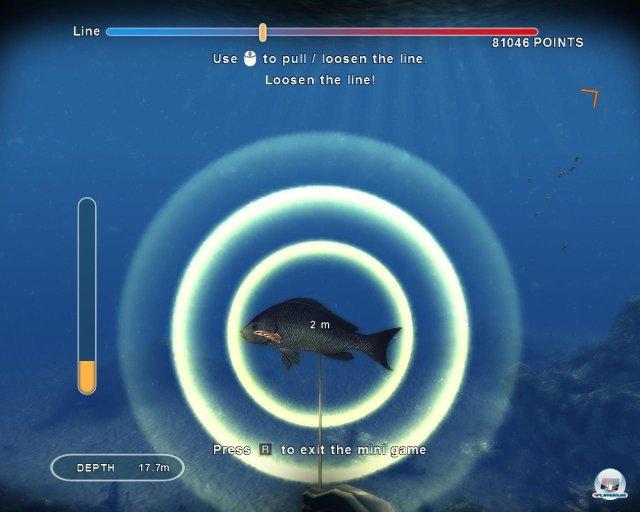 """Hängt ein Fisch an der Harpune, muss er in einem Mini-Spiel """"mürbe gemacht"""" werden."""