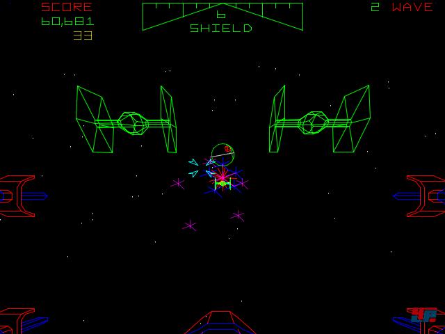 Vektor-TIE-Fighter in Angriffsformation vor dem Todesstern im Hintergrund.