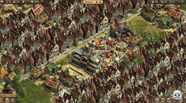 Optisch erinnert ANNO Online (basiert auf Adobe Flash) an ANNO 1404 und ANNO 1701. Hier: Der Kern eines Dorfes mit großem Marktplatz und einigen Kaufmannshäusern.