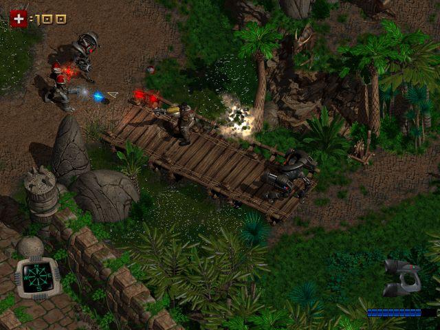 Feuerkampf im Dschungel auf der Brücke