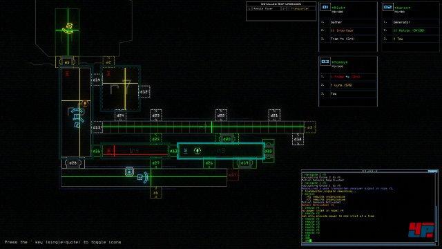 Man beobachtet die Dronen über eine schematische Darstellung ihrer Scannerinformationen.