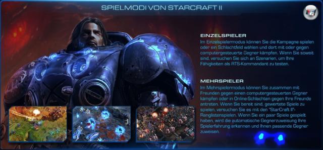 <b>Singleplayer-Kampagne</b><br><br>Wie fast jedes Echtzeit-Strategiespiel bietet StarCraft II umfangreiche Mehrspieler-Möglichkeiten und einen Einzelspieler-Modus mit einer Story-Kampagne. Zunächst war es geplant, dass es wie beim Vorgänger drei Kampagnen mit rund zehn Missionen geben soll (ein Feldzug pro Fraktion). Aber dieses Konzept wurde verworfen, weil die angestrebte Hintergrundgeschichte den Rahmen gesprengt hätte - so jedenfalls die Erklärung von Blizzard. Daher entschieden sich die Entwickler für eine Dreiteilung: Den Anfang macht »StarCraft II: Wings of Liberty« mit der knapp 30 Missionen langen Terraner-Kampagne, die aufwändig mit Zwischensequenzen und Dialogszenen präsentiert wird. Im Abstand von jeweils eineinhalb Jahren sollen die Episoden »Heart of the Swarm« (Zerg) und »Legacy of the Void« (Protoss) folgen. 2129498