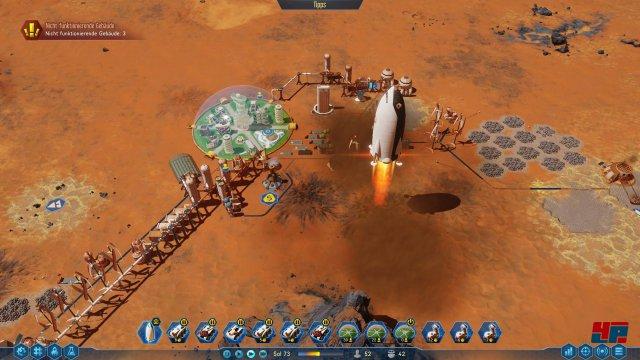 Mit Raketen werden Ressourcen und Kolonisten eingeflogen. Die teuren Raketen können im Anschluss wieder betankt und zum Beispiel mit Edelmetallen beladen werden.