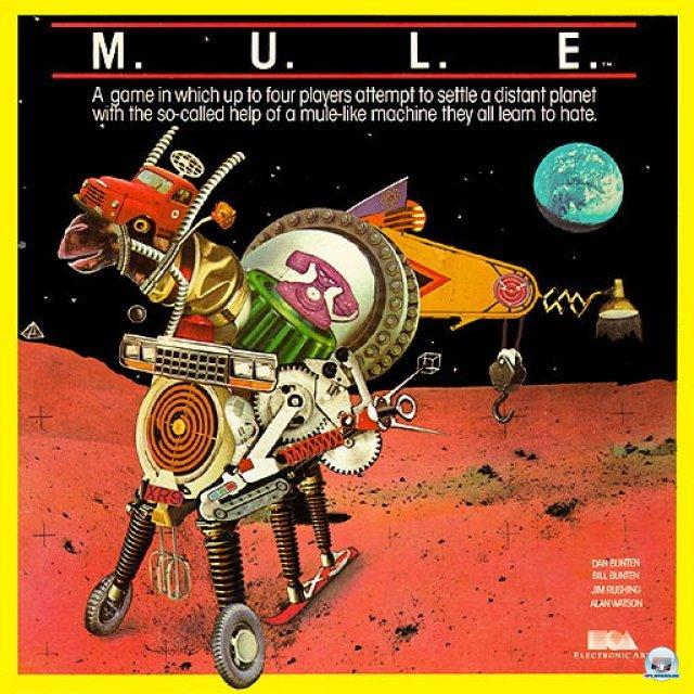 <b>M.U.L.E. </b><br><br> M.U.L.E. (1983) besitzt nicht nur ein herrlich bizarres Packungs-Artwork, sondern macht auch heute noch einen Riesenspaß. Bis zu vier Spieler versuchen in dem Strategiespiel, auf dem Planeten Irata die erfolgreichste Kolonie aufzubauen. Die Namen gebenden Weltraum-Maulesel produzieren Ressourcen wie Nahrung, Energie, Erz oder Edelsteine. Zwischendurch wird Land versteigert und auch Weltraumpiraten erscheinen auf der Bildfläche. Die größte Stärke des Spiels ist die ausgewogene Balance: Jede Partie verläuft anders und benötigt eine auf den Gegner zugeschnittene Strategie. Ähnlich spannende Brettspiele sind z.B. Battle Chess und Archon. 2371847