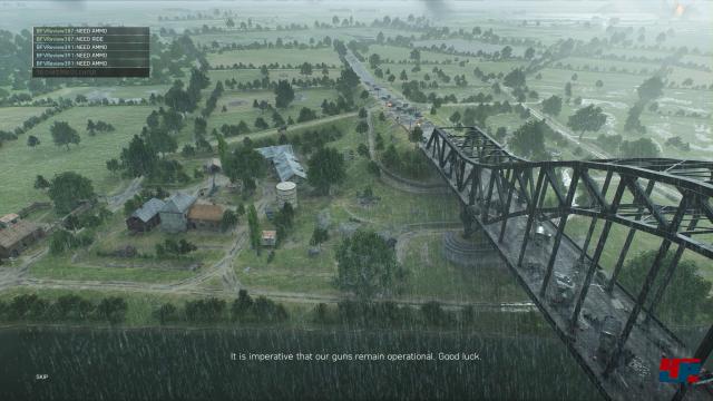 Die Brücke in Frankreich aus der Vogelperspektive.