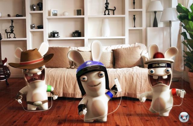 <b>Rayman Raving Rabbids (Ubisoft, 2006)</b><br><br>Bwaaaaaaaaaaaaaaaaah! BWAAAAAAAAAAAAH! BAAAAAAAAAAAAAAAA! Waaaaaaaaaaah! WAAAAAAAAAAAAAAH! Bwa. Okay, vielleicht ist die Luft aus dem Joke mittlerweile ein bisschen raus. Trotzdem wünscht sich kaum ein Kind etwas sehnlicher, als von einem rotäugigen Karnickelmonster mit einem Klostopfer angegriffen zu werden, das aus einem putzigen Osternest springt. 1936338