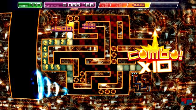 Am linken Bildrand sieht man noch das größere Labyrinth aus dem der Spieler kam. Hat man alle Zielkreuzchen erreicht, geht es weiter ins kleinere Exemplar rechts unten.
