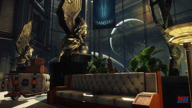 Das Artdesign auf der Raumstation erinnert stark an BioShock.