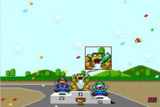 Die westlichen Versionen des Spiels wurden übrigens zensiert. Im japanischen Original betrinken sich Bowser und Peach bei der Siegerehrung mit Sekt, hierzulande fuchteln sie nur mit der Flasche herum.