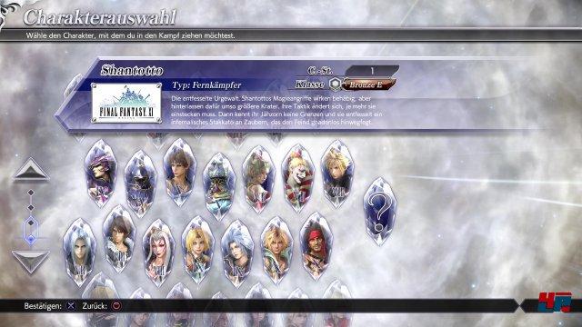 Fast 30 Kämpfer aus allen wesentlichen Final-Fantasy-Spielen warten darauf, zu einem Dreierteam zusammengestellt zu werden