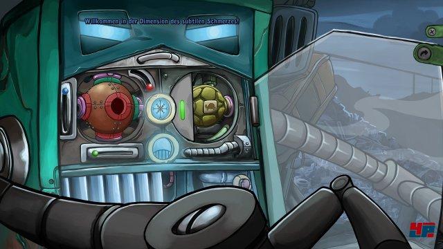 """Spielerisch mau, aber immerhin lustig: In Minispielen wie diesem schlägt man sich z.B. mit einem Automaten herum, der je nach Ersatzteil und Einstellung vom Snack-Automaten """"Grill-Bot"""" zum Eiswürfel-Spender """"Chill-Bot"""" oder zum agressiven Kill-Bot wird."""