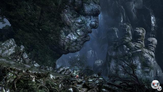 Mit ihrem eigenen Kind Uranos gebar Gaia wiederum die Beherscher der Welt: Die Titanen. Hier läuft Kratos auf ihr Richtung Olymp. 2072118