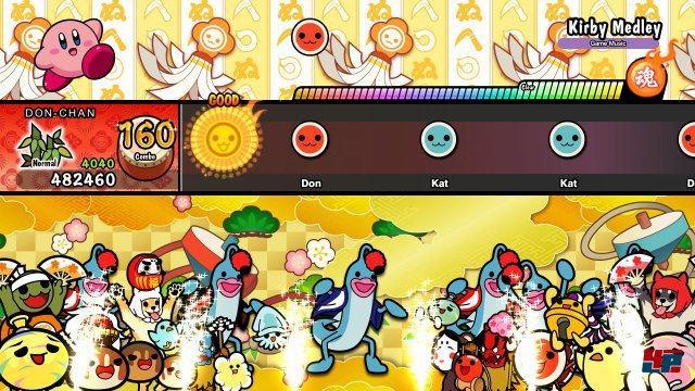 Je mehr Noten man trifft und je höheer die Kombo, desto mehr Figuren versammeln sich auf der unteren Bildschirmhälfte und feiern mit.