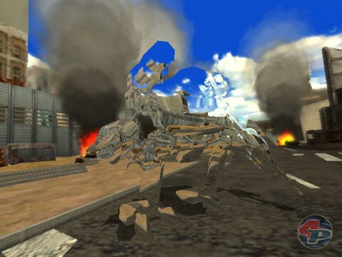 Ein Phantom-Scoobee rumblet in der zerstörten Stadt. 19783