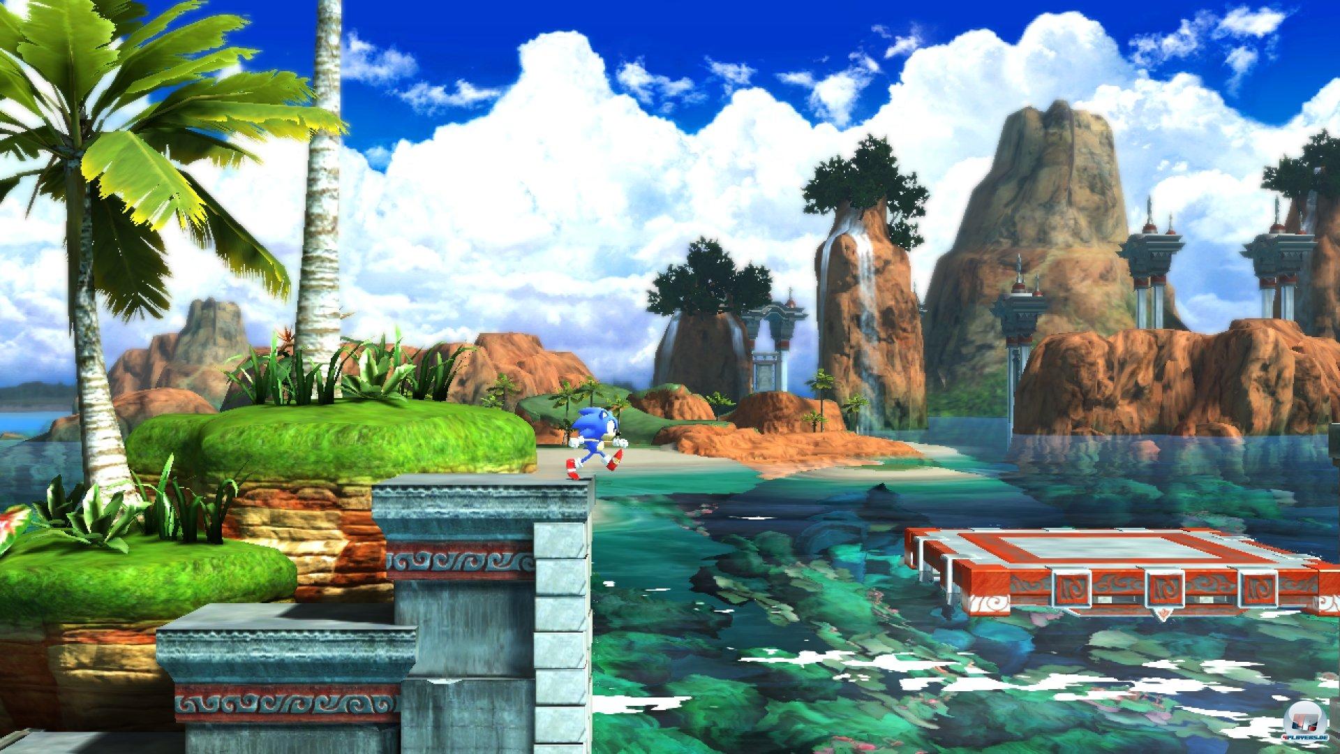 Jeder der Level besitzt zwei Akte. Im ersten läuft und kugelt sich der klassische Sonic von links nach rechts...