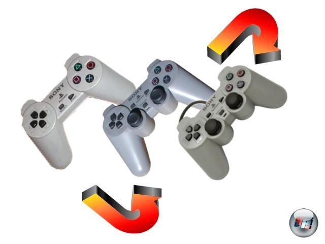 Der PlayStation haben wir auch das heutzutage so selbstverständliche Konzept der doppelten Analogsticks zu verdanken, auch wenn das vom Design her bis heute fast unveränderte Original-Pad noch ganz ohne die Potenziometer-bewaffneten Knüppel auskam. Erst 1997 wurde mit dem »Dual Analog Controller« das Zeitalter der doppelten Feinfühligkeit eingeläutet - Nintendo hatte ein Jahr davor das N64 mit nur einem Pseudo-Analoghebel ausgestattet. Ein gutes Jahr später lernte das Pad auch noch das Zittern, Rumpeln und Vibrieren: Der »DualShock Analog Controller« basierte auf zwei Motoren, die in unterschiedlicher Stärke rotieren konnten. Heutzutage ebenfalls eine Selbstverständlichkeit, damals spätestens beim Spielen von Metal Gear Solid mehr als genug Anlass für Schreckensschreie und hektische Padwürfe. 2046558