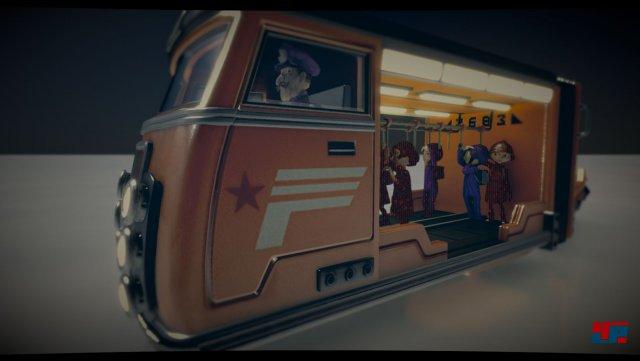 Die schwebenden Busse bringen Spieler zu Felsformationen, in denen sie Rohstoffe sch�rfen.