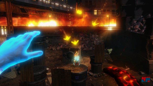 Mit der rechten oder linken Hand malt man Zauber im virtuellen Raum.