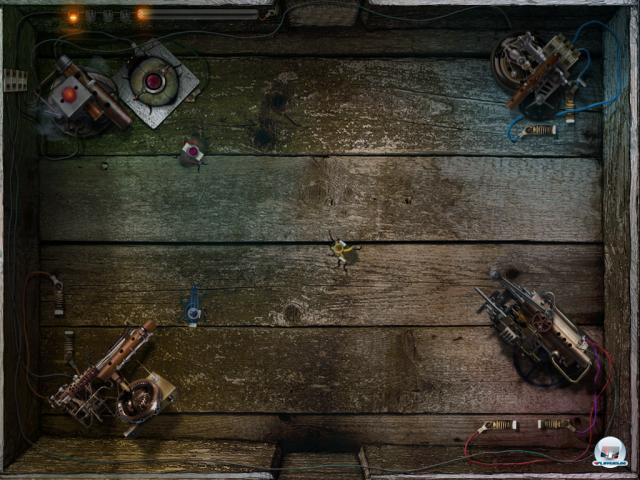 Wie kann Volty diese Arena meistern? Das Spiel nutzt alle Funktionen des Multitouchscreens.