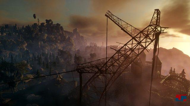 Nein! Das ist kein Screenshot aus STALKER, sondern ein Bild aus der postapokalyptischen Science-Fantasy-Welt von Elex.