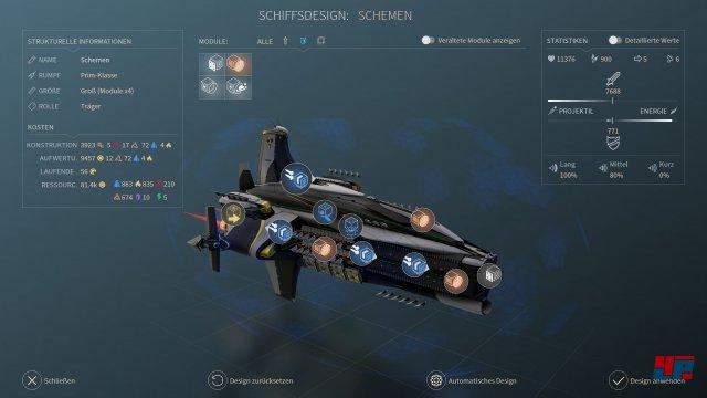 Raumschiffe lassen sich gezielt mit Kampf-, Verteidigungs- sowie Unterstützungsmodulen modifizieren.