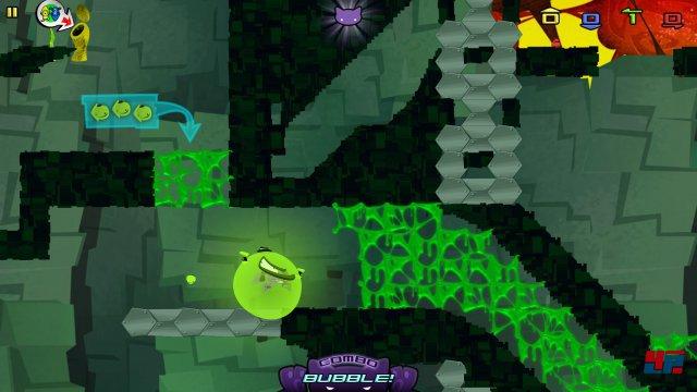 In der leuchtend grünen Schutzblase kullert die Katze sicher durch tödliche Schleimbatzen.