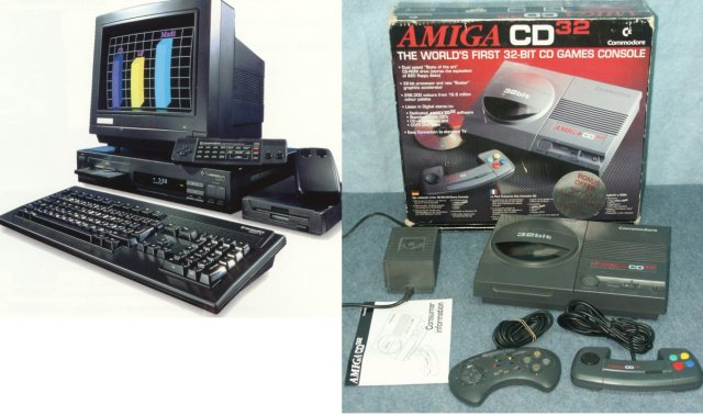Amiga goes Multimedia <br><br>  Bei Commodore wollte man allerdings nicht einsehen, dass die Zeit des Amiga abgelaufen war. So verhedderte man sich im Versuch, die Marke auch im Multimedia-Bereich zu etablieren und gleichzeitig auch noch im Konsolenmarkt anzugreifen, wo der Krieg um Marktanteile bereits zwischen Nintendo, Sega, Atari (Jaguar) und 3DO tobte. Weder mit dem CDTV (Commodore Dynamic Total Vision, 1991) noch der auf der Amiga 1200-Technologie basierenden Videospielkonsole CD32 (1993) sowie dem parallel erschienenen CD-Laufwerk f�r den Computer konnte man Erfolge verzeichnen, um die Amiga-Marke am Leben zu halten. Gravierenden Fehler beim Marketing der Ger�te waren ebenfalls erneut einer der Gr�nde, warum der Funke nicht z�nden wollte. Das Ende vom Lied: Am 29. April 1994 musste Commodore Insolvenz anmelden.               2133133