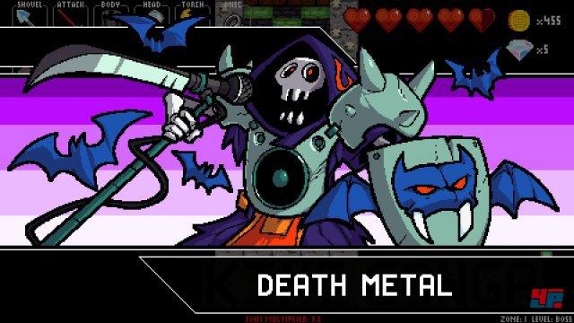 Death Metal ist einer der vier gnadenlosen Bosse in den kaum Fehler verzeihenden Rhythmus-Dungeons.