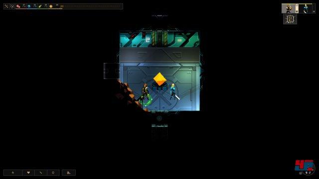 Der Beginn: Jedes Level beginnt mit einem Raum, den Helden und dem Energiekern.