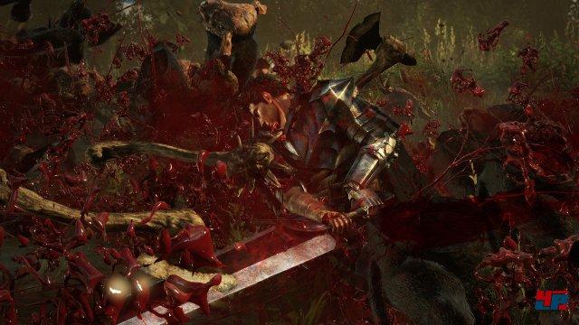Wenn Guts Treffer landet, gibt es Blutfontänen. Dennoch abseits dessen hätte die visuelle Gewalt kompromissloser ausfallen können.