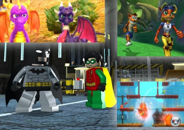 Und auch wenn man die 2D-Pixel durch 3D-Polygone ersetzt, bleiben Jump-n-Runs das prädestinierte Genre für kollektives Vergnügen: Siehe Bionic Commando Rearmed (okayokay - 2 ½D, wenn man's ganz genau nimmt), die Lego-Spiele (wobei man leider nur bei Lego Star Wars: Die komplette Saga online kooperativ spielen durfte), die letzten beiden Crash Bandicoot-Abenteuer oder Spyro: Dawn of the Dragon. 1879918