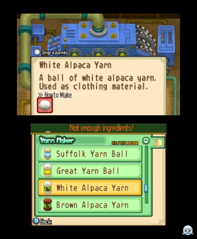 Mit genügend Kleingeld lassen sich allerlei nützliche Maschinen kaufen. Anders als auf diesem Bild sind die Texte übrigens komplett eingedeutscht. (3DS-Screenshot).