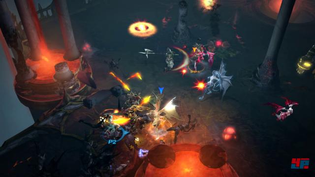 Typische Dämonenjagd im vierten Akt. Im Mehrspieler-Modus werden die zwei Spieler-Charaktere mit unterschiedlichen Farbkreisen unter der Figur hervorgehoben.
