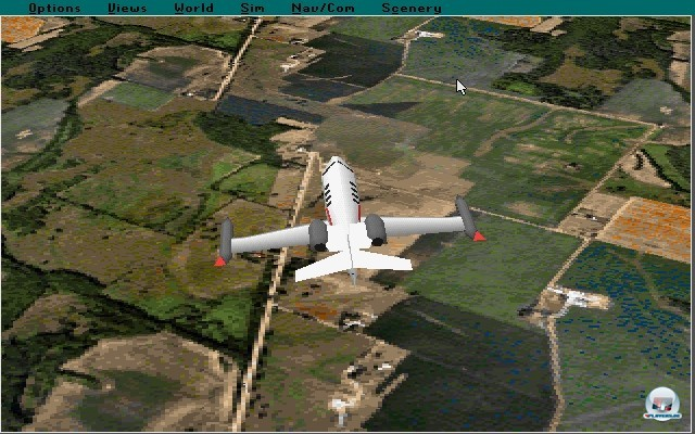 <b>Microsoft Flight Simulator 5.1</b> <br><br> Mit dem f�nften Serienableger machte die Serie 1993 einen radikalen Schnitt: Microsoft �bernahm das Spiel komplett und brachte den Titel von nun an exklusiv f�r den PC heraus. Die Landschaft erstrahlte zum ersten Mal in 256 Farben und auch die Anordnung der Instrumente wurde endlich detailliert den Vorbildern nachempfunden. Auf dem Screenshot ist das Update 5.1 zu sehen, welches noch eine Ecke schmucker aussah und erstmals auf CD-Rom ausgeliefert wurde. 2241057
