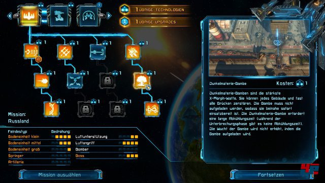 Die Upgrademöglichkeiten für Türme und Alienflugschiff fallen eher überschaubar aus - können aber vor jeder Mission angepasst werden.