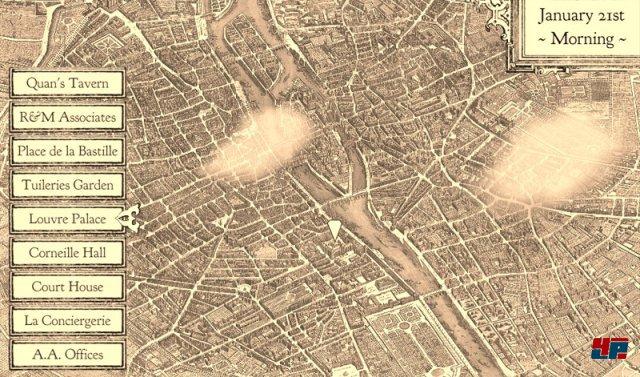 Die Karte von Paris: Mit der Zeit tauchen immer mehr Orte auf, die man untersuchen kann.