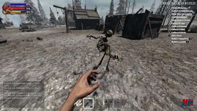 Ein epischer Kampf gegen ein Skelett. Man hält einfach so lange die Angriffstaste, bis es besiegt ist. So jagt man auch Rehe.