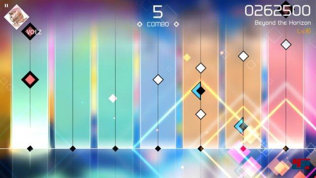 Das Rhythmus-Konzept setzt auf halten, rutschen und tippen der Noten - und das zumeist mit mehreren Fingern.