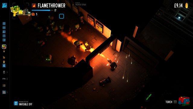 Mit einem Flammenwerfer kann man die Feinde effektiv dezimieren.