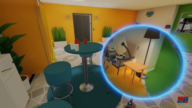 Cleverer ist es, sich vor dem Beamen erst einmal umzuschauen. Sobald man die kleine blaue Kugel ans Ziel geschossen hat, sieht man durch den beweglichen Portal-Kreis in alle Richtungen.