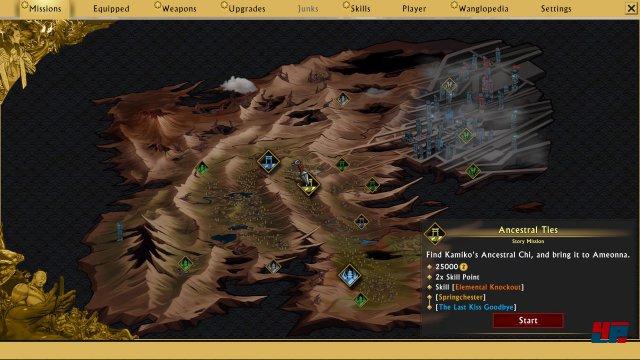 Die nächsten Missionen können auf der Karte ausgewählt werden.