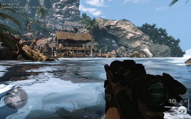 Ein Blick auf die Hütte in der Bucht: Wer möchte, kann sich auch im Wasser heranschleichen.
